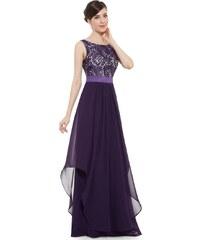 877375e64be4 Ever-Pretty Nádherné fialové večerní šaty ze saténu a krajky