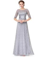 Ever-Pretty Šedé krajkové šaty s tříčtvrtečním rukávem 093aea5347