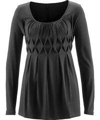 bpc selection Langarmshirt mit Falten in schwarz für Damen von bonprix