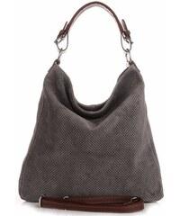 Genuine Leather Univerzální kožená italská kabelka ažurová šedá f8c8a2cd00