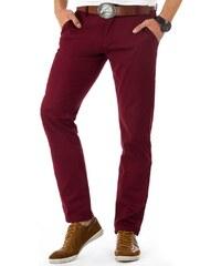 Dstreet Stylové vínové pánské chino kalhoty b27d72711d