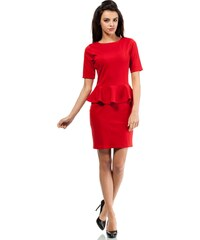 Koktejlové peplum šaty MOE014 červené c2b3005b41c