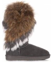 Vera Pelle Kožené Dámské boty sněhule mýval králík šedé 7006ba4e6a