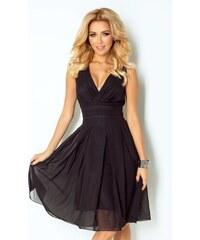 numoco Luxusní dámské společenské a plesové šifonové šaty KARA černé dcb9d0447d