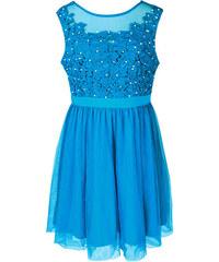 LM moda A Plesové šaty krátké s krajkou modré s perličkami 45-2 81cff53b6dc