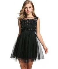 LM moda A Plesové šaty krátké s krajkou černé s perličkami 45-4 e1b0d7fa15