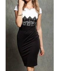 LM moda A Elegantní pouzdrové šaty s krajkou bílé OH685 70c35918d8