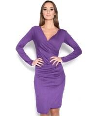 Řasené šaty s dlouhým rukávem a efektem sukně barva fialová XS S b32a2c53a6