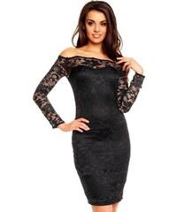 880d5bca9eef Dámské společenské šaty MAYAADI krajkové s dlouhým rukávem krátké černé