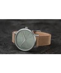 e12d6d523af Pánske hodinky v zlatej farbe s tmavohnedým koženým remienkom ...