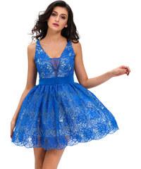LM moda A Skater šaty modré barvy s krajkou 43-5 cdff1f6ce6