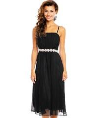 1b6575797515 BBW Plesové šaty společenské značkové s žabičkováním na ramínka středně  dlouhé černé