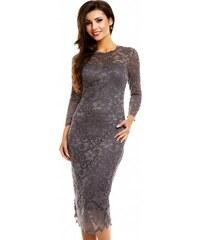 4ac9784be61 Společenské šaty MAYAADI krajkové s dlouhým rukávem středně dlouhé tmavě  šedé