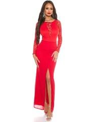 5f81576d1366 Strikingstyle Dlhé krajkové šaty   červené