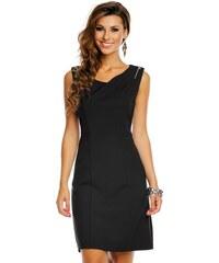 J J Společenské šaty značkové moderní střih s ozdobnými zipy na ramenou  černé c3fd2096e4