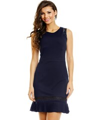 LOVIE Společenské šaty zdobené krajkou se skládanou sukénkou krátké tmavě  modré dadc03c1e80