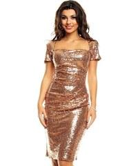 d505296ead7 Společenské flitrové šaty značkové MAYAADI s krátkým rukávem bronz
