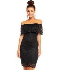 Společenské šaty krajkové MAYAADI krajkové s výstřihem na ramena černé efbba54392