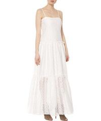 Letní bílé šifónové šaty na úzká ramínka a volánky na ramenou - Glami.cz fd0f7f6c07