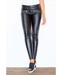 f0f2e89401f6 FIGL Dámske čierne koženkové nohavice jegginy M186 - Glami.sk