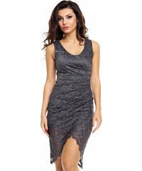 24821ef0d8d Společenské a plesové šaty MAYAADI krajkové s asymetrickou sukní tmavě šedé