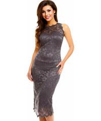 Společenské šaty krajkové značkové MAYAADI bez rukávu středně dlouhé tmavě  šedé 2cf21e0610