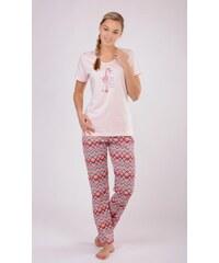 d98e4940329 Vienetta Dámské pyžamo s krátkým rukávem Vienetta Žirafa Linda - lososová