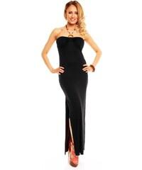 Dlouhé černé šaty s rozparkem 3c58294356