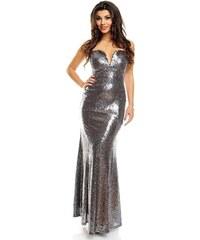 Dlouhé stříbrné plesové šaty 6fd4797e2d