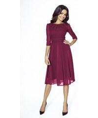 Elegantní šifonové šaty s 3 4 rukávem vínové 214 Kartes KM211-4 e12ccc5cec