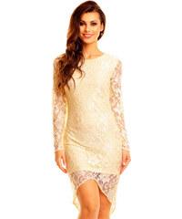 Společenské šaty MAYAADI krajkové s asymetrickou sukní krémové dc925da472