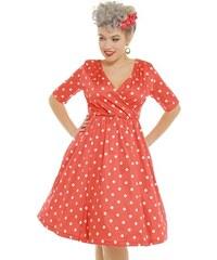 LINDY BOP Dámské retro šaty Dahlia červené s puntíky 42e311781d