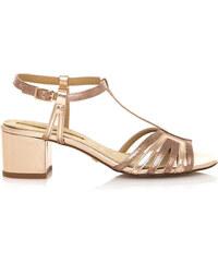 Béžové sandály na nízkém širokém podpatku Maria Mare 051a892f40