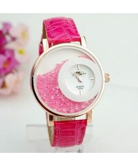 CHM Dámské hodinky s růžovými křišťálky růžové 4090a231179