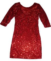 NoName Třpytivé párty šaty s flitrami - červené 58d99df6e2d
