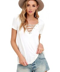 V V Dámske tričko s výstrihom Criss Cross - biele ... 3af5e47a53a