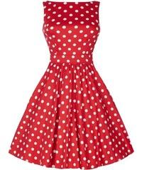 Dámské retro šaty Lady Vintage Tea Červené s puntíky 8fe0742ecb