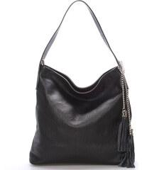 Módní kožená kabelka přes rameno černá - ItalY Georgine černá 36c353284d3