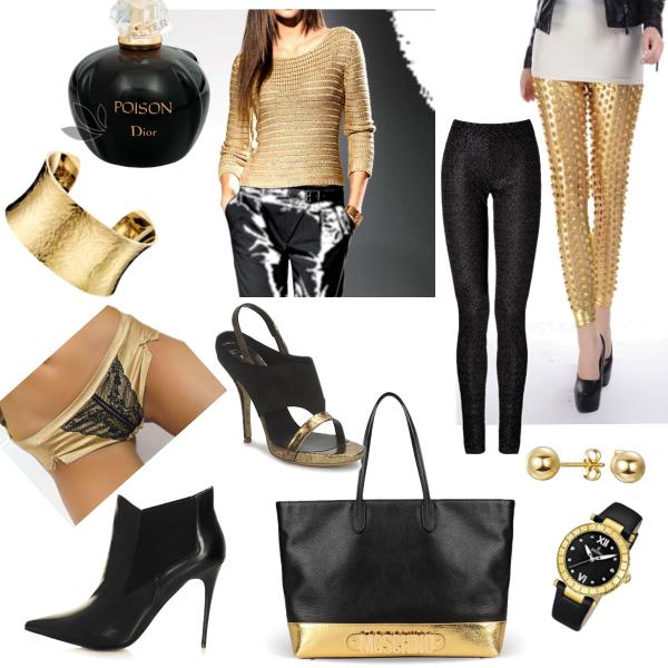 černo zlatá kombinace