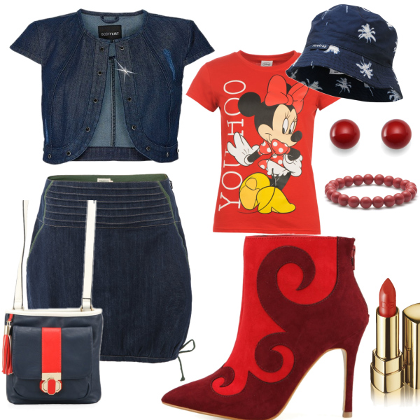 Red and jeans set