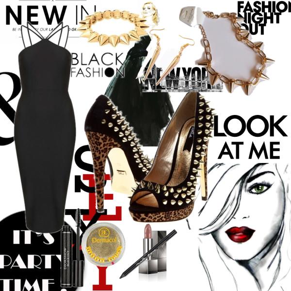 Black high heels.
