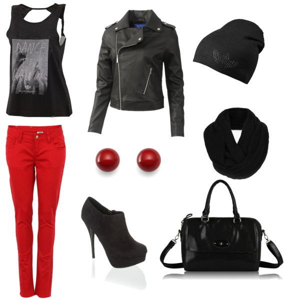 Rock red with black
