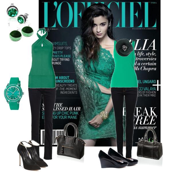 v barvě zelené