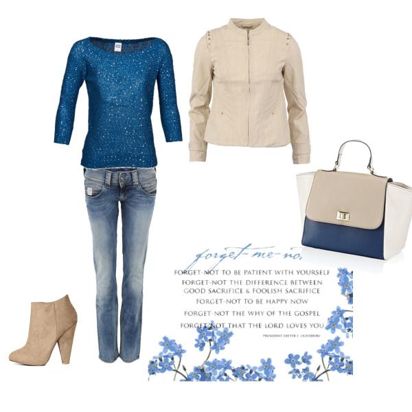 Béžová s modrou