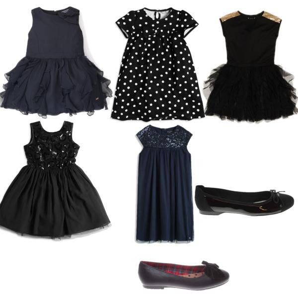 dívčí černá kolekce šatiček a botiček