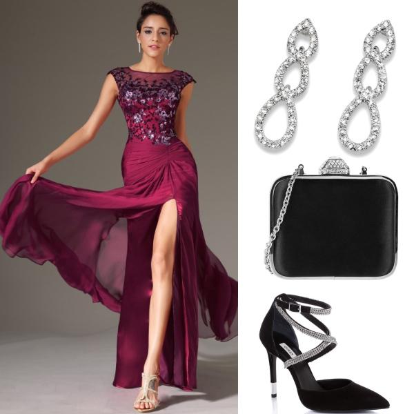 Luxusní bordó šaty