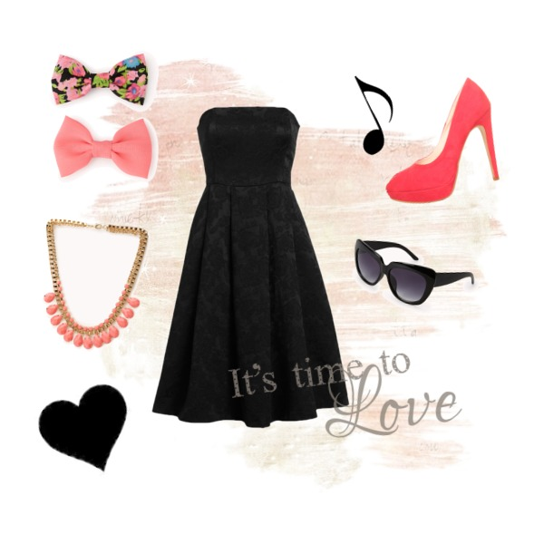 Black dress with pink decorations