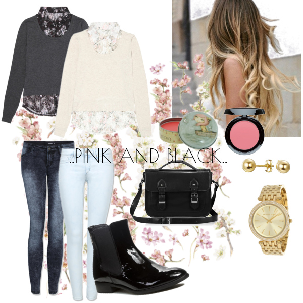 ..pink and black..