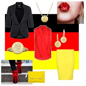 Outfit schwarz, rot, gold  von A.N.N.A