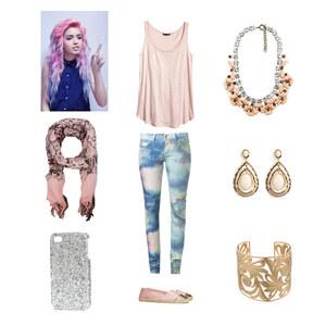 Outfit rosa und blau von Blume